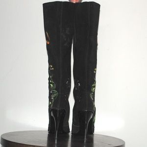 N.Y.L.A. Shoes - NYLA Embroidered Suede Knee High Stiletto Boots